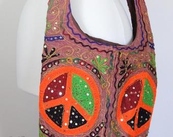 1970's Style Retro Crossbody Bag / Embroidery & Sequins / Boho Hippie Festival Bag / Peace Satchel