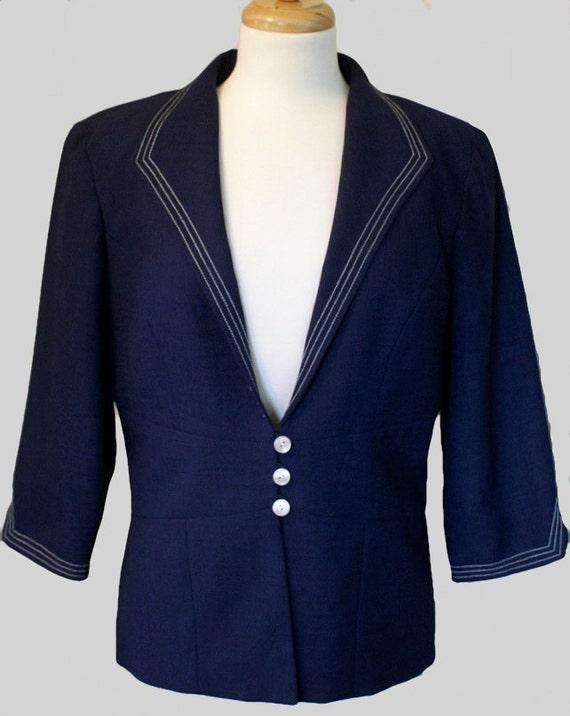 Sailor Jacket / Vintage Resort Wear / Preppy Navy Blue & White by  DAVID WARREN
