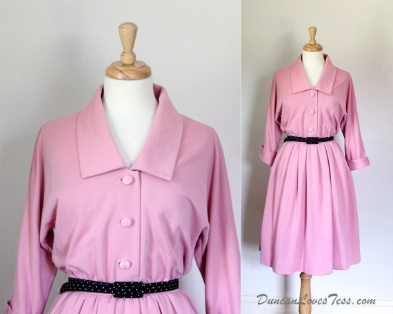 Vintage 70's Shirtwaist Pink Knit Leslie Fay Dress
