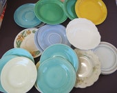 Mismatched bread and saucer plates