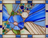 """SOLD Color of Hope. Unique Stained Glass Panel, 15""""x11.5"""""""
