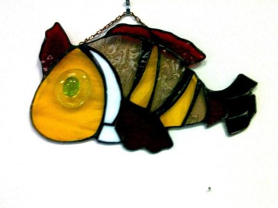 "Fish. Stained Glass Suncatcher, 10""x6"""