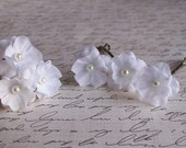 Wedding White Small Flower Hair Pins -  White Bridal Hair Pins - Pearl Center Flowers - Six Bobby Pins