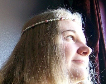 Adjustable Pearl Headband in Pink and White for Wedding, Prom, Renaissance Festival, Bridesmaids or as a Flowergirl Headband