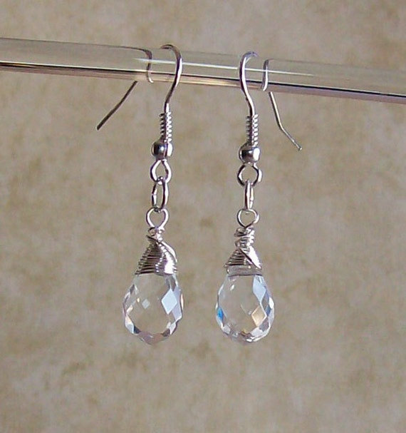 Crystal Drop Earrings - Silver Wire Wrapped
