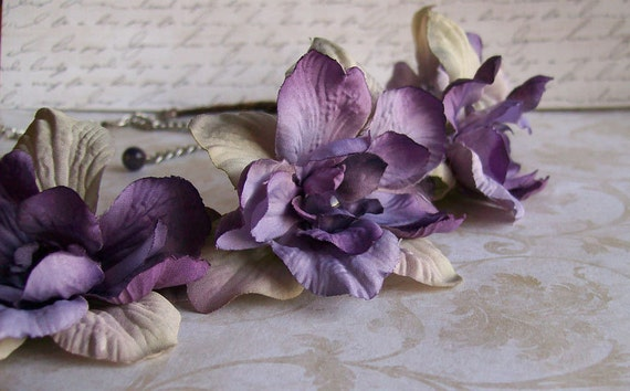 Woodland Wedding Flower Headband - Purple - Amethyst Beads - Fairy Crown - Grapevine -Made to Order