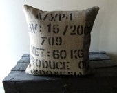 Indo No. 12 - 20 inch Designer Upcycled Burlap Pillow