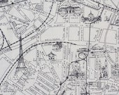 Half Yard of Etchings Paris Map in Charcoal, 3 Sisters for Moda Fabrics, 100% Cotton Fabric