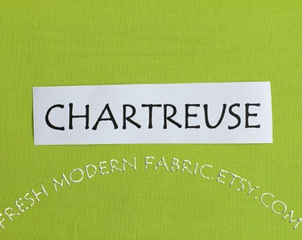 One Yard Chartreuse Kona Cotton Solid Fabric from Robert Kaufman