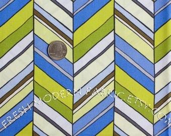 Half Yard New Chevron in Blue, Botanika, by Paula Prass for Michael Miller Fabrics, 100% Cotton Fabric