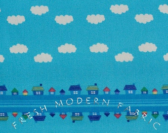 Half Yard Toy Poodle House Stripe in Blue, Kinkame for Clothworks, Oxford Cotton Fabric