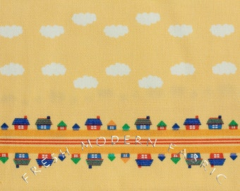 Half Yard Toy Poodle House Stripe in Yellow, Kinkame for Clothworks, Oxford Cotton Fabric