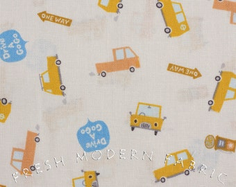 Fat Quarter Happy Go Lucky Cars by Puti de Pome for Kiyohara Fabrics