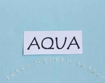 One Yard Aqua Kona Cotton Solid Fabric from Robert Kaufman, K001-1005
