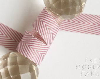 3 Yards Blush Chevron Twill Tape, 3/4 Inch Width