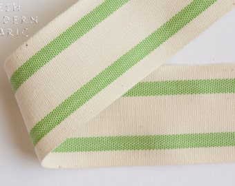 2 Yards Green 1.5-inch Striped Edge Woven Cotton Trim, 1.5 Inches Wide by Two Yards Long