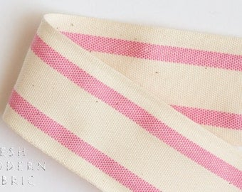2 Yards Pink 1.5-inch Striped Edge Woven Cotton Trim, 1.5 Inches Wide by Two Yards Long