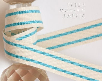 3.5 Yards Turquoise 5/8-inch Striped Edge Woven Cotton Trim, 5/8 Inch Wide by Two Yards Long