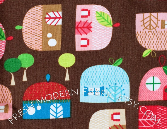 LAST PIECE Fat Quarter Apple Huts in Bright, Appleville by Suzy Ultman for Robert Kaufman Fabrics, 100% Cotton Fabric