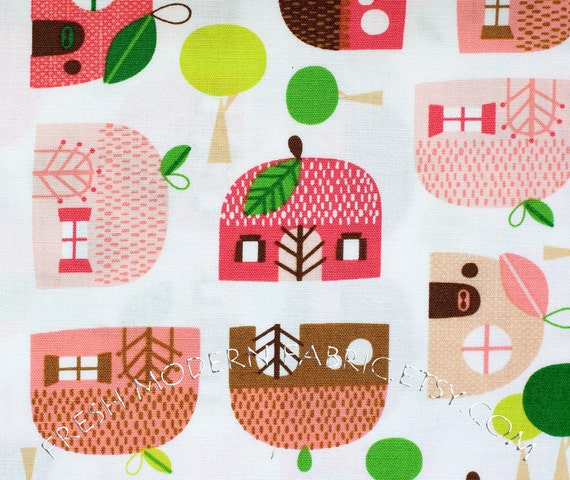 Half Yard Apple Huts in Fuchsia, Appleville by Suzy Ultman for Robert Kaufman Fabrics, 100% Cotton Fabric