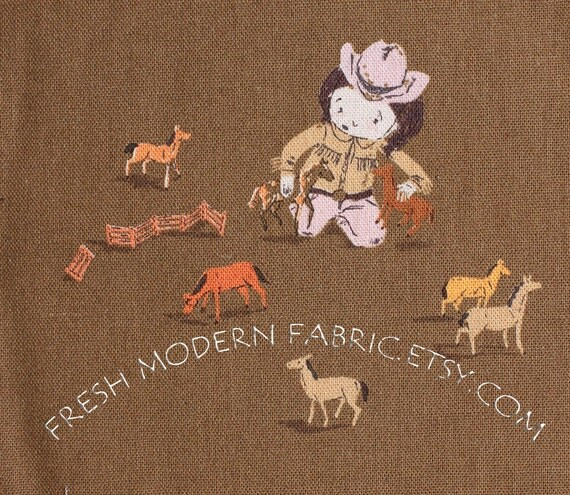 Fat Quarter Playing Horses on Brown, Far, Far Away III by Heather Ross for Kokka Fabrics