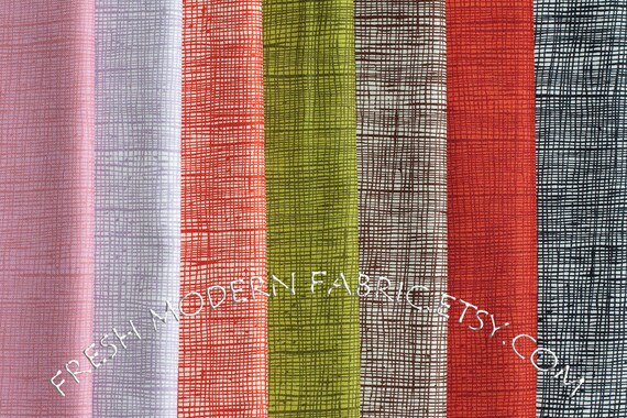 LAST AVAILABLE Fat Quarter Bundle of Heath in Seven Colors, In the Kitchen, by Alexander Henry, 100% Cotton Fabric
