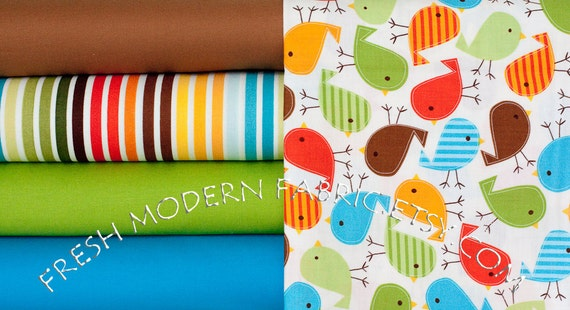 LAST AVAILABLE Half Yard Bundle Bermuda Birds and Solids, Urban Zoologie and Remix by Ann Kelle, Robert Kaufman, 100% Cotton Fabric