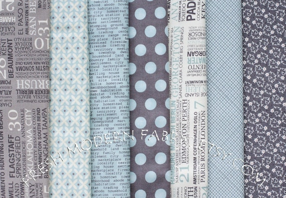 LAST AVAILABLE Fat Quarter Hometown Bundle in Blue and Grey, 7 Pieces, Sweetwater for Moda Fabrics, 100% Cotton Fabric