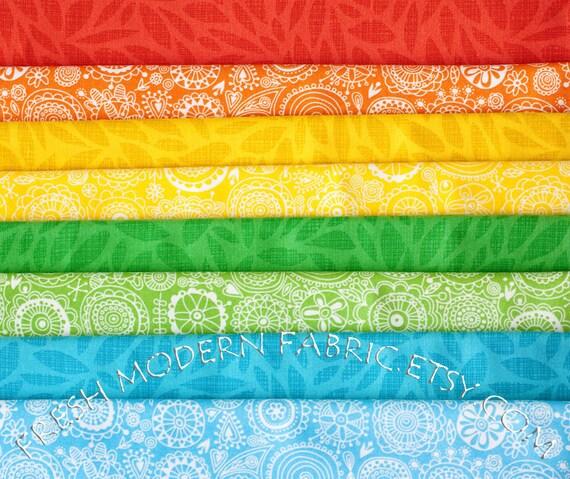 Fat Quarter Bundle Spring Street Rainbow, 8 Pieces, Carolyn Gavin for P&B Textiles
