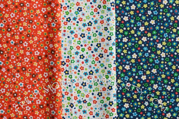 LAST AVAILABLE Fat Quarter Bundle Tiny Flowers in Orange, White and Navy Blue, Spring Street, Carolyn Gavin for P&B Textiles
