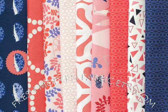 Fat Quarter Bundle Outfoxed, Outplayed Colorway, 9 Fat Quarters, Lizzy House for Andover Fabrics, 100% Cotton Fabric