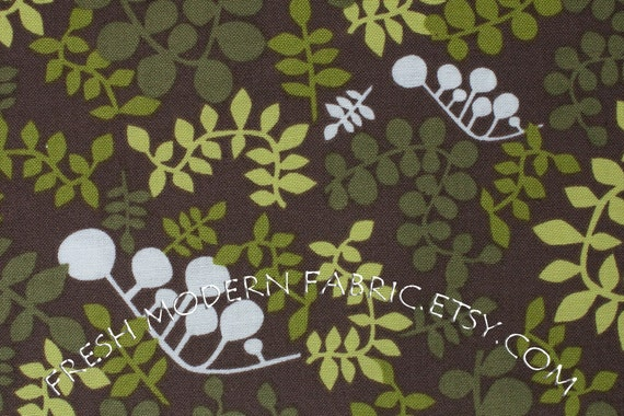 LAST PIECE Half Yard Outfoxed Foliage in Green, Outwitted Color Story, Lizzy House for Andover Fabrics, 100% Cotton Fabric