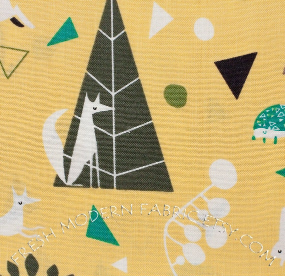 LAST PIECE Half Yard Outfoxed in Yellow, Outwitted Color Story, Lizzy House for Andover Fabrics, 100% Cotton Fabric