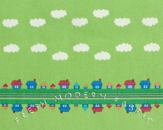 Half Yard Toy Poodle House Stripe in Green, Kinkame for Clothworks, Oxford Cotton Fabric