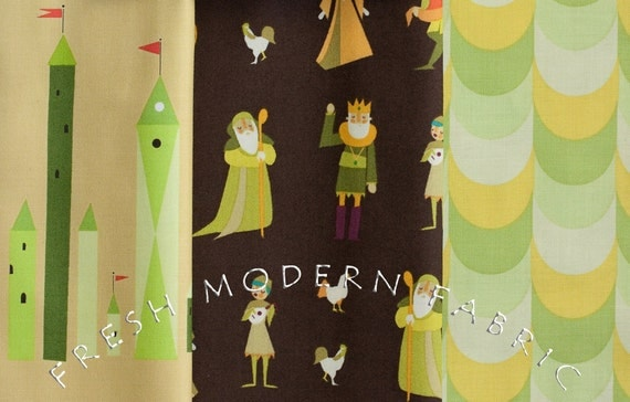 LAST AVAILABLE Fat Quarter Bundle Castle Peeps in Gallant Green, 3 Pieces, Lizzy House for Andover Fabrics, 100% Cotton Fabric