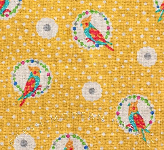 Fat Quarter Cockatiel in Yellow, Echino Fall 2011 Collection, Etsuku Furuya for Kokka Fabrics