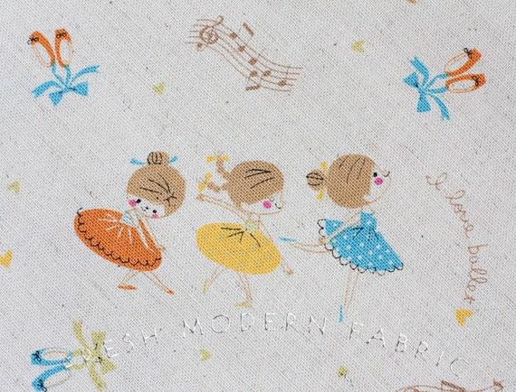 LAST PIECE Fat Quarter of Ballerinas, Trefle, Kokka Fabrics, Japanese Import, Cotton and Linen Blend Fabric
