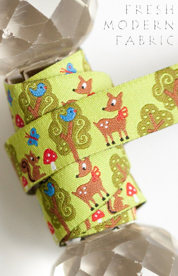 LAST PIECE One Yard Forest Friends Farbenmix Woven Ribbon, Imported from Germany