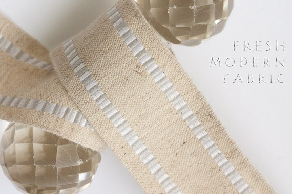 2 Yards Silver and White Striped Edge Burlap Ribbon, 1.5 Inch Width