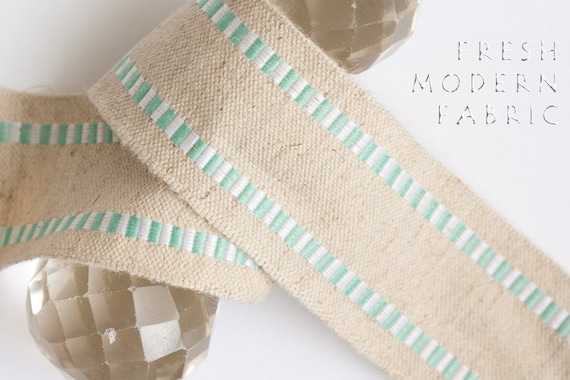 2 Yards Turquoise and White Striped Edge Burlap Ribbon, 1.5 Inch Width