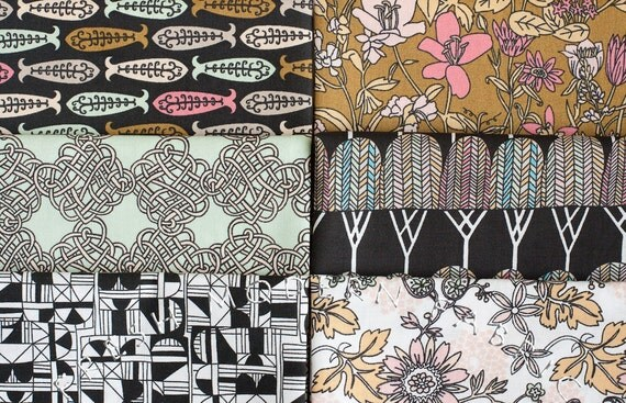 LAST AVAILABLE Half Yard Bundle Miscellany, 6 Pieces, 100% Organic Cotton, by Julia Rothman, Cloud9 Fabrics