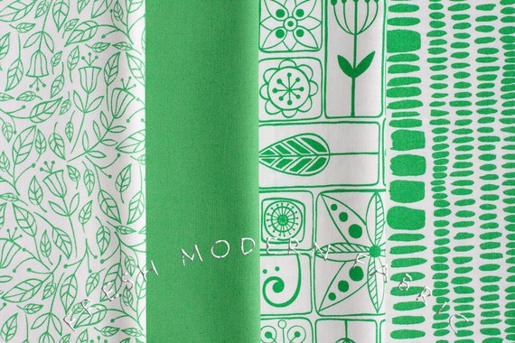Fat Quarter Bundle of Summersville in Leaf Green, 4 Pieces, Lucie Summers, Moda Fabrics, 100% Cotton Fabric