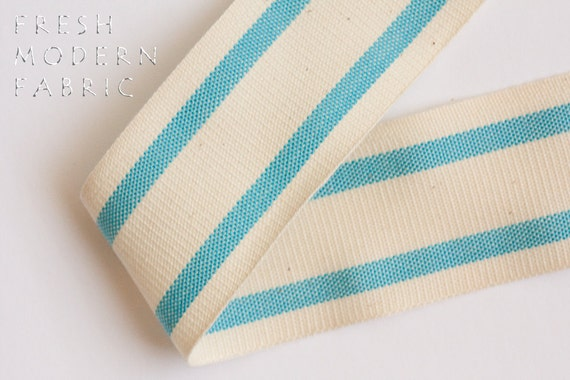 2 Yards Turquoise 1.5-inch Striped Edge Woven Cotton Trim, 1.5 Inches Wide by Two Yards Long