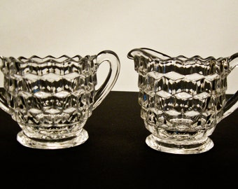 Vintage Fostoria Cream and Sugar Set