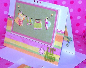 Baby Girl Card - Welcome Lil' One - Pinks, Greens, Yellows, Orange