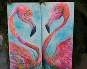 """Pink Flamingo Original Painting on Canvas set of 2 """"Flaminco's"""" by Erika Johnson 12 x 36 inches"""