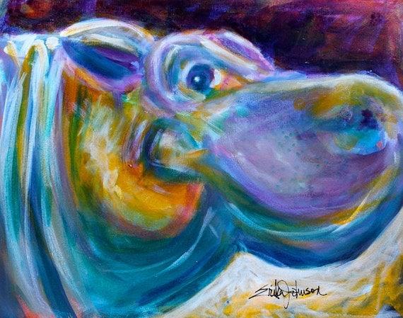 Hippopotamus Painting Original Art 13 x 10 Inches by Erika Johnson