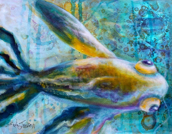 Fish Painting Original Art Etta by the Sea 10 x 13 inches
