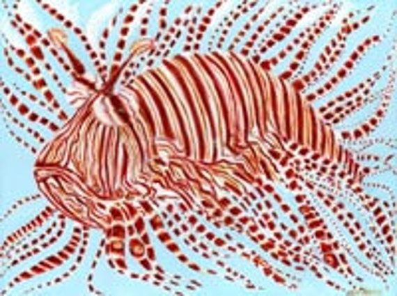 Leo the Lion Fish Art Print by Mississippi Artist Erika Johnson 11 x 14 inches ( 279.4 x 355.6 mm)