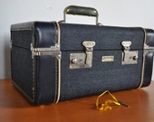 Reserved for HausofD - Train Case - Vintage Admiral Blue Flite Weight Train Case